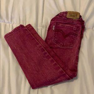 Levi's 710 super skinny magenta jeans